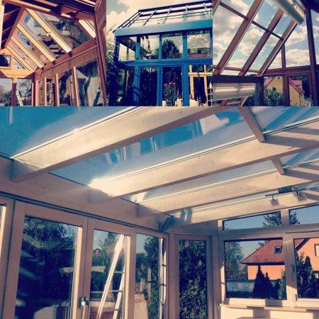 Wintergarten und Terrassenüberdachungen reinigt Fensterputzer Roth